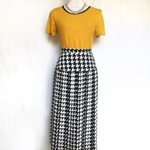 Dresses & Skirts - Black and White Houndstooth Pleated Midi Skirt 14